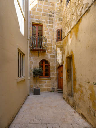 Quiet residential stree in the ancient Maltese city of Mdina on the island of Malta.