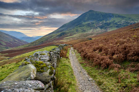 Track leading past Lonscale fell on the way back from Skidaw in The Lake District,Cumria,UK