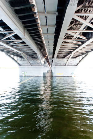 The bridge, the bottom view. Clear and solar weather. Stock Photo