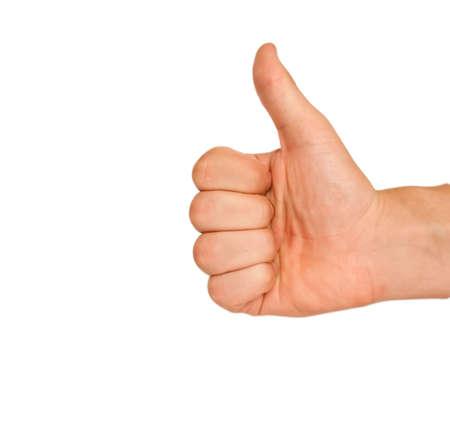 Kciuk górÄ™ zniesione na biaÅ'ym tle Zdjęcie Seryjne
