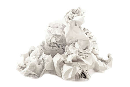 The heap of papers crumpled. White background Stock Photo