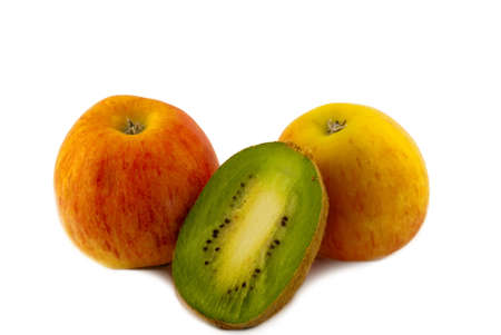 Two apples and half kiwi on a white background