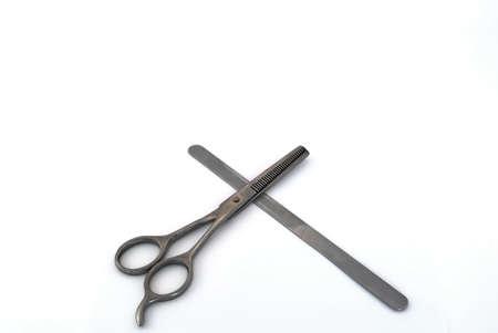scissors, nail file, white background photo
