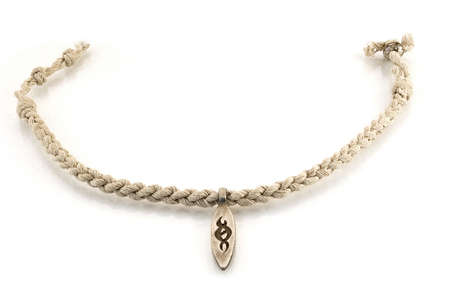 A rope with a pendant on a white background Stock Photo