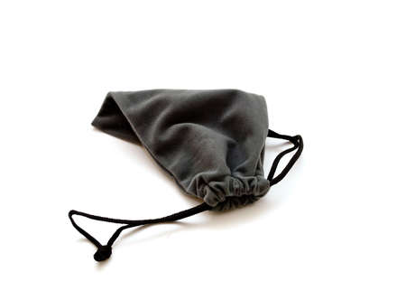 Gray gift sac against the white background