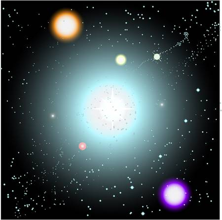 space scene with suns and stars Stock Vector - 7930076