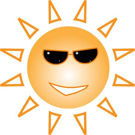 Funky fashionable sun wearing spectacles.  Illustration