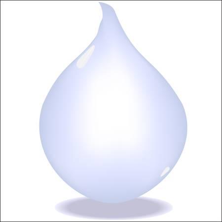Kropli wody błyszczący samodzielnie na białym tle.