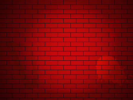 Vector brick wall made of red bricks