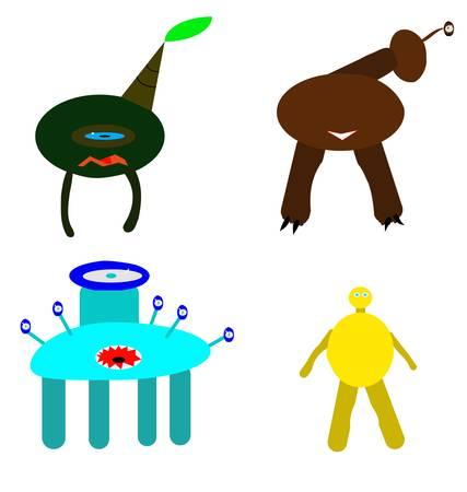 terrible: four terrible monster Illustration