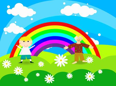Cheerful boy stands on a rainbow Illustration