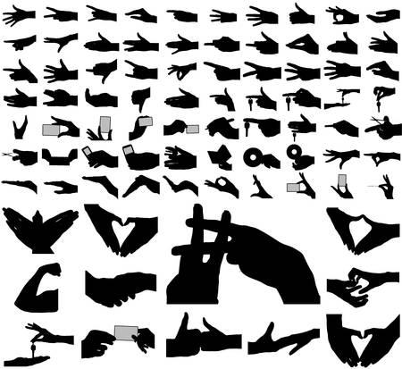 mani cartoon: Grande collezione di armi, le mani.  Vettoriali