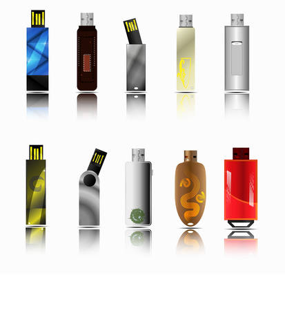 The lagest set of highly detailed different  USB flash drives.  Vector Illustration