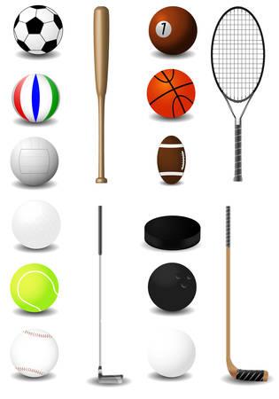 Największa kolekcja wybrany sprzęt sportowy bardzo szczegółowe. Wektor.