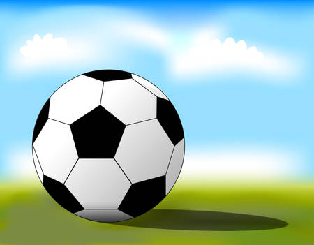 Football ball on the grass close-up. Vector Stock Vector - 8123540