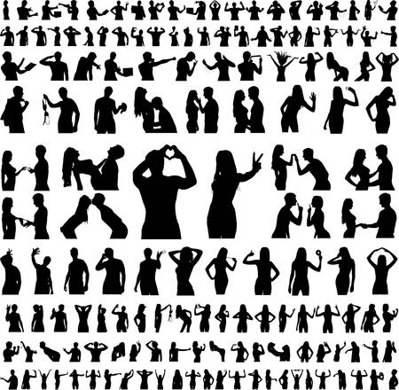Hundreds of People Silhouettes men and women - vector EPS 8. (150) Vector
