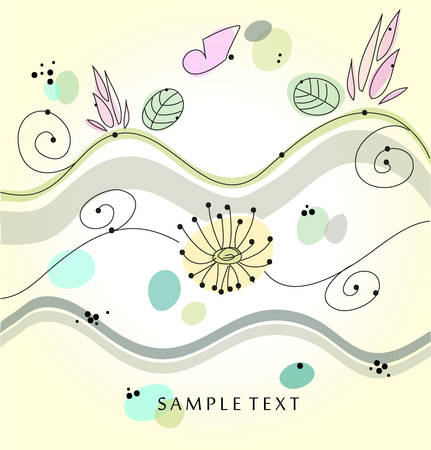 Floral background with pastel colors. Greeting Card. Stock Vector - 8123534