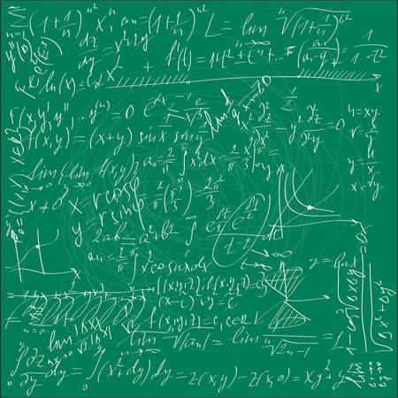 Green school board with chaotic mathematical formulas Vector