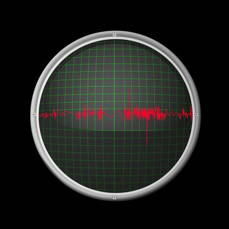 oscilloscope: Illustration of oscilloscope and a triangle-shaped signal