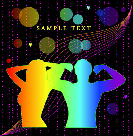 colorful silhouettes of people on black background. Vector.
