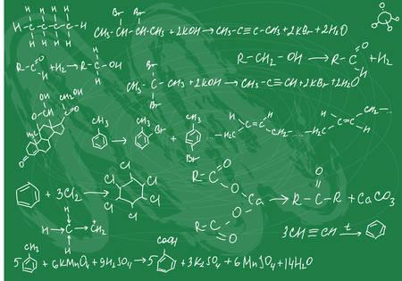 garabatos: Ilustraci�n vectorial de f�rmulas de qu�mica transparente sobre el fondo de pizarra verde