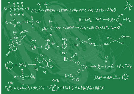 computation: Vector illustration of seamless chemistry formulas on the green slate background