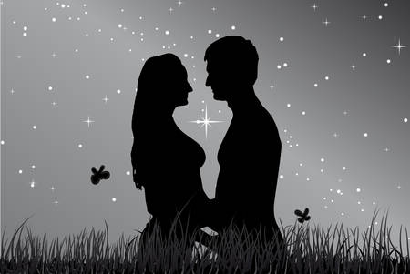 Kiss a guy with a girl in the grass against night sky . Vector. Illustration