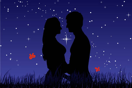 Kiss a guy z dziewczynka w trawy przeciwko nocnym niebie. Wektor.