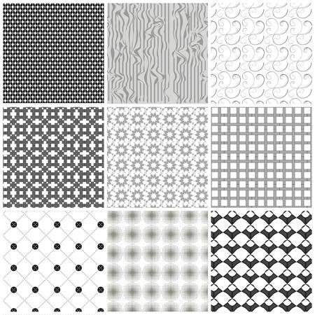 Zestaw czarno-białe wzory geometryczne.