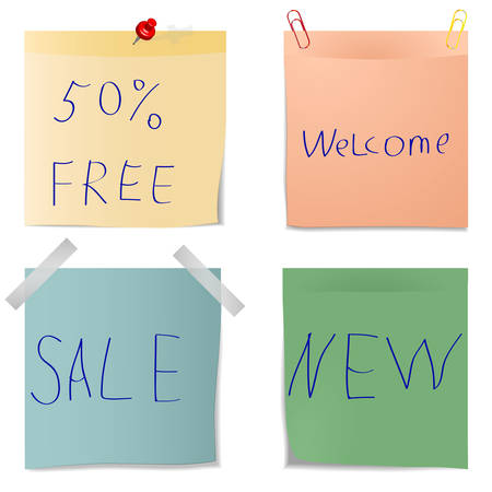 Set Of Blank Realistic Note Papers. Vector