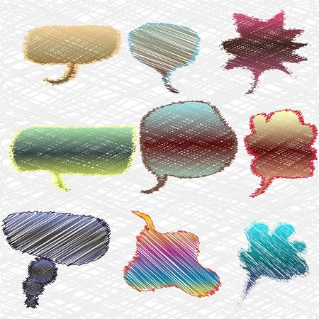 a set of colorful thought or speech bubbles.