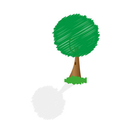 Abstract illustration modern tree image with shadow