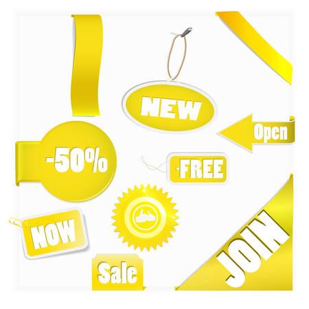 Zestaw elementów złoto dla nowych elementów w eshop lub na stronie sieci web Ilustracja
