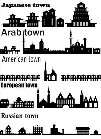 Detailed   skylines of different towns . Vector