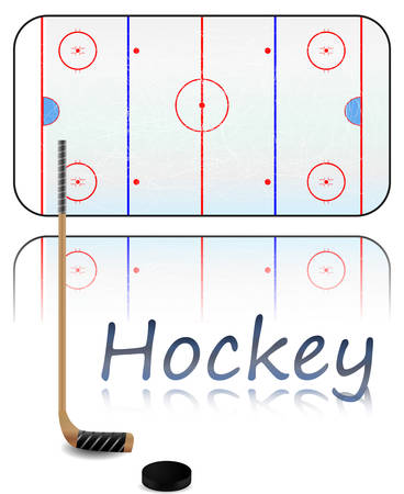 hockey rink: Illustration of a hockey field, hockey stick and puck. Each element on separate layer.