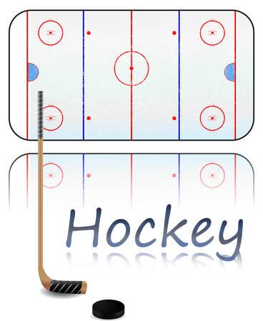 Ilustracja pola na lodzie, Kij hokejowy i Pucka. Każdy element na osobnej warstwie.