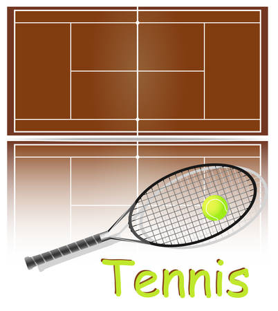 Set of items for tennis. Ball, racket and court. Each element on a separate layer. Vector
