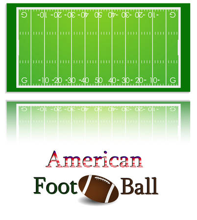 floodlit: Illustration of a american football field and ball. Each element on a separate layer.