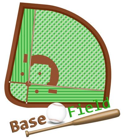 Baseball field layout, bat and ball. Vector