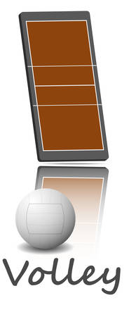 Illustration of a volleyball field and ball. Each element on a separate layer. Illustration