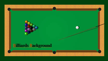 Billiards with balls and cue.  Vector