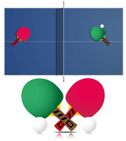 tischtennis: Tischtennis und Schl�ger auf wei�em Hintergrund. Jede Elemente auf separaten Ebene. Illustration