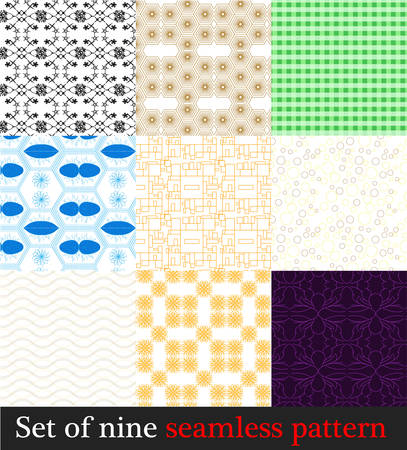 Set four seamless patterns circles, squares, rings and cages. Illustration