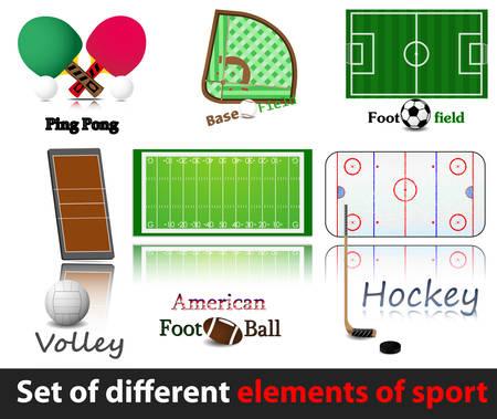Zestaw elementów sportu. Hokej na trawie, volley, baseballu, amercan. piłkarz, grający na pozycji.