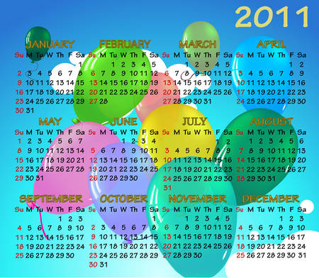 Calendar 2011 on the background of balloons and sky. Each element on a separate layer