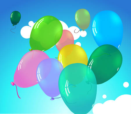 Colorful pretty ballooons in sky with clouds