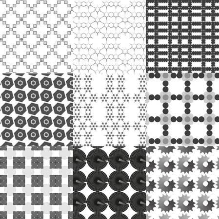 Set of monochrome geometrical patterns Vector