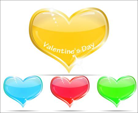 Four krasivyz glass hearts