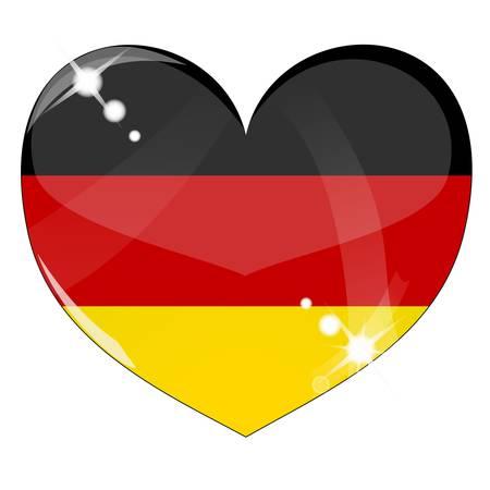 bandera alemania: Coraz�n de vector con textura de bandera de Alemania Vectores