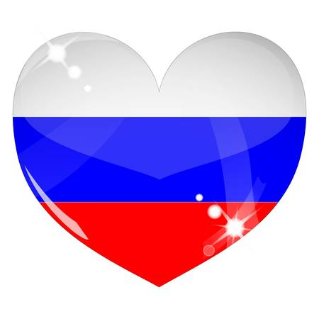 Vector heart with Russia flag texture Vector